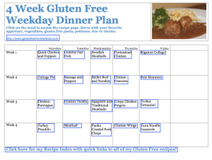 4 Week Gluten Free Weekday Dinner Plan