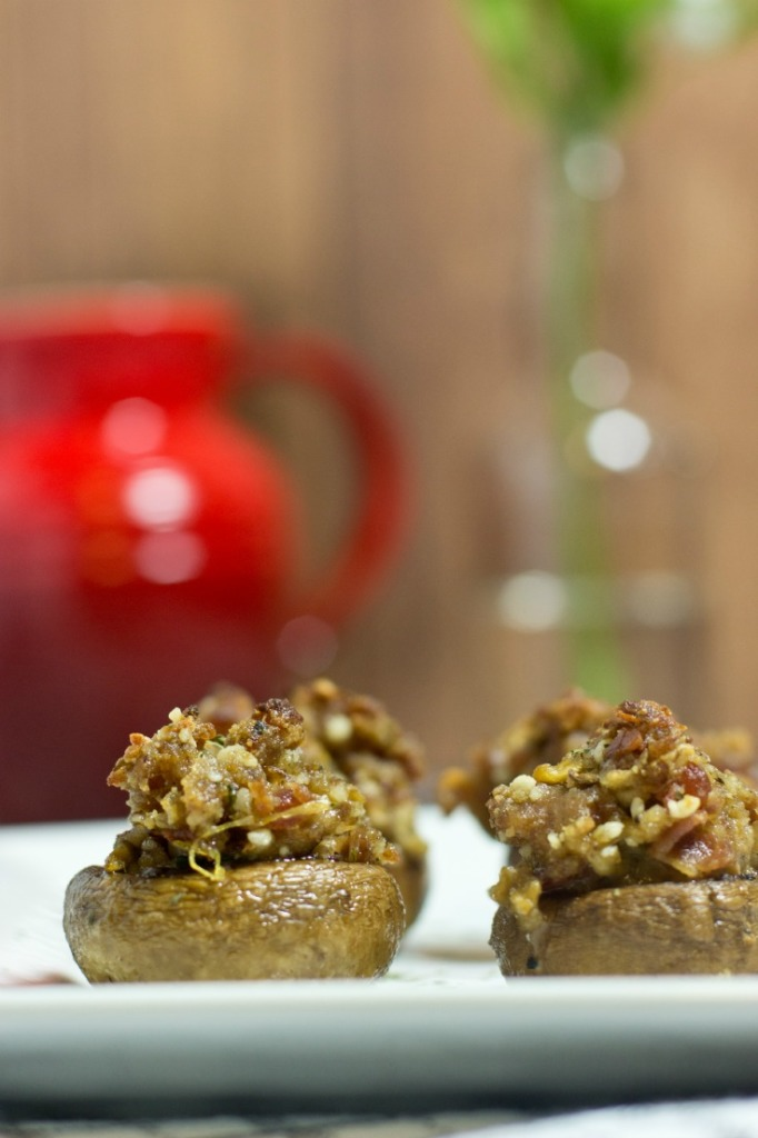 Gluten Free Bacon and Sausage Stuffed Mushrooms