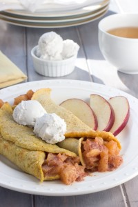 Apple-Filled Pumpkin Crepes with Coconut Whipped Cream