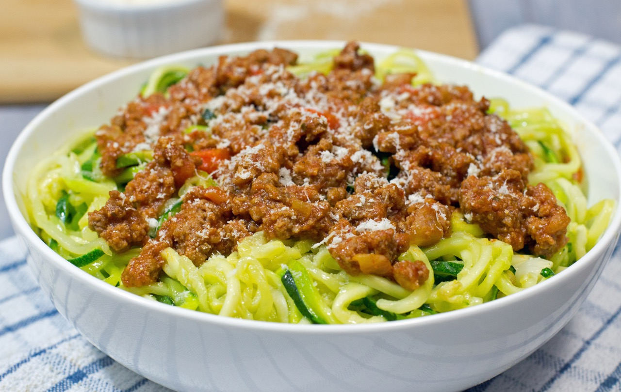 Zoodles (Zucchini Noodles) with Bolognese sauce