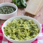 Zoodles (Zucchini Noodles) with Basil and Pistachio Pesto