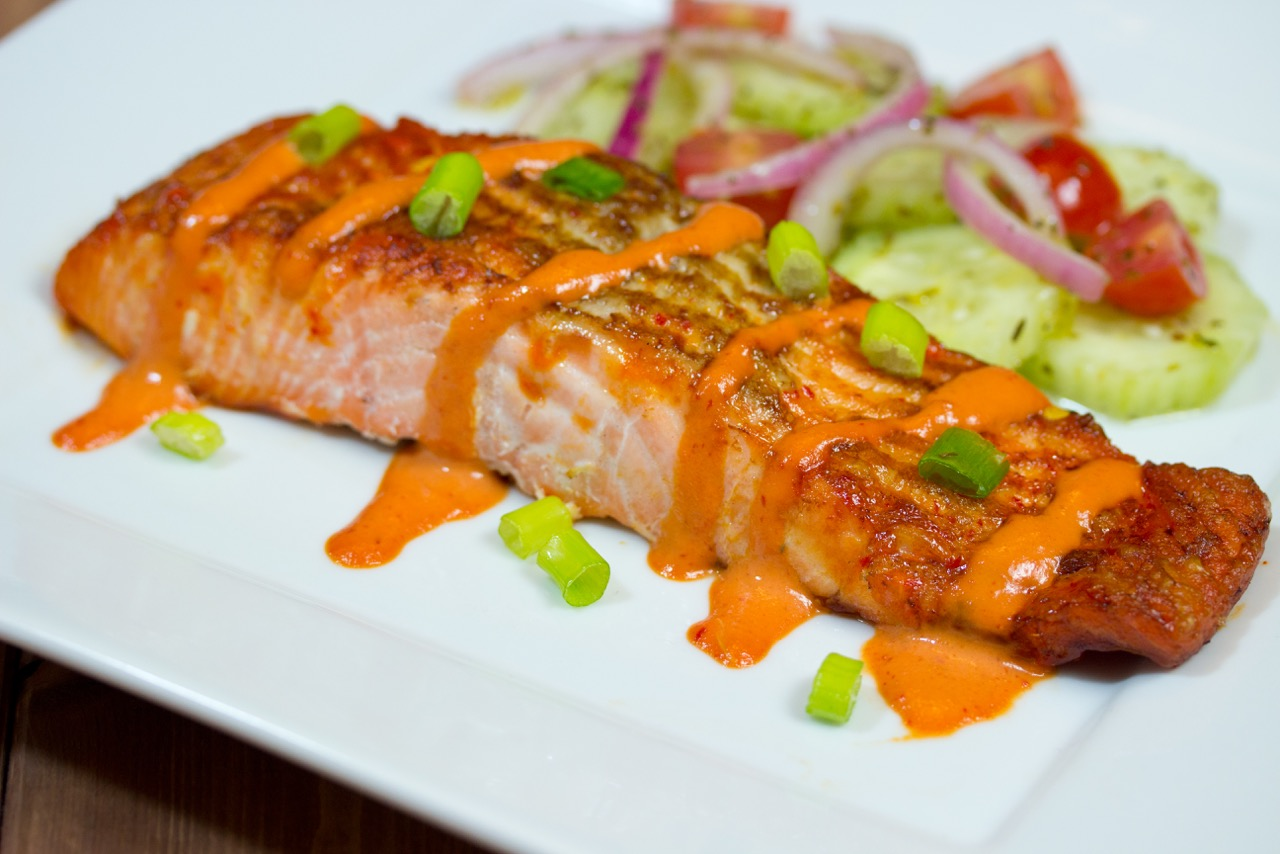 Broiled Salmon with Gluten Free Spicy Mayo Sauce