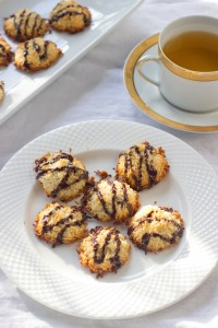 Dark Chocolate Drizzled Coconut Macaroons