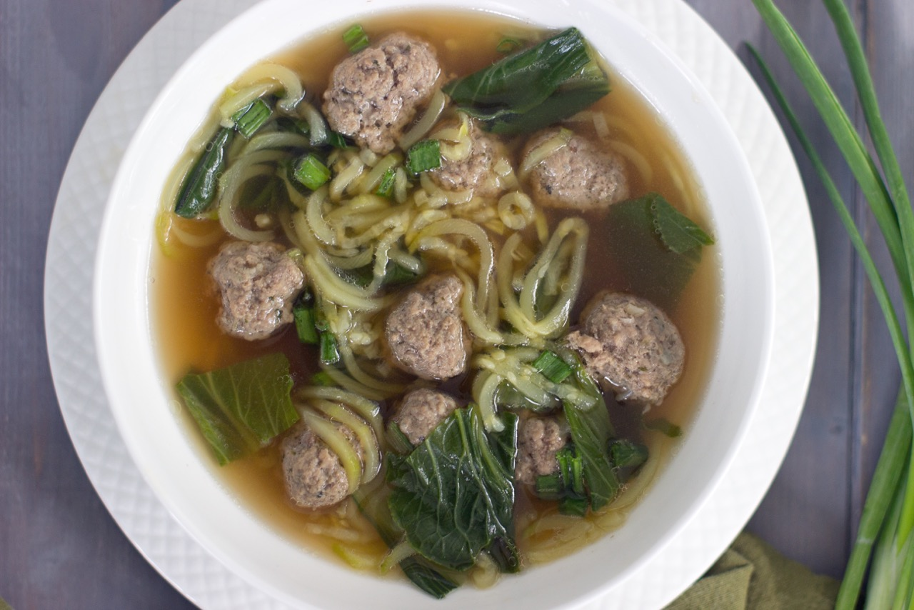 Zoodle Soup With Meatballs