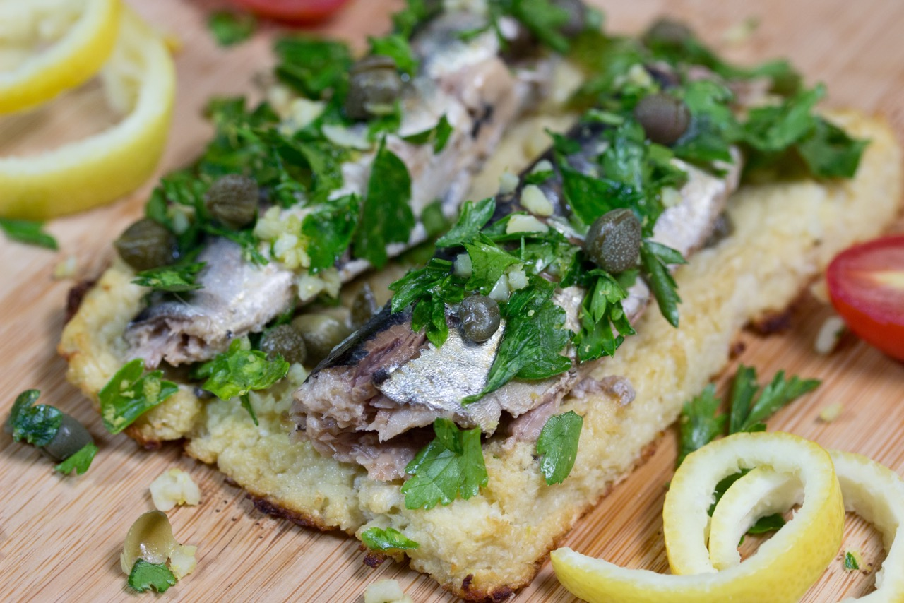 Sardines on Cauliflower Toast with Gremolata