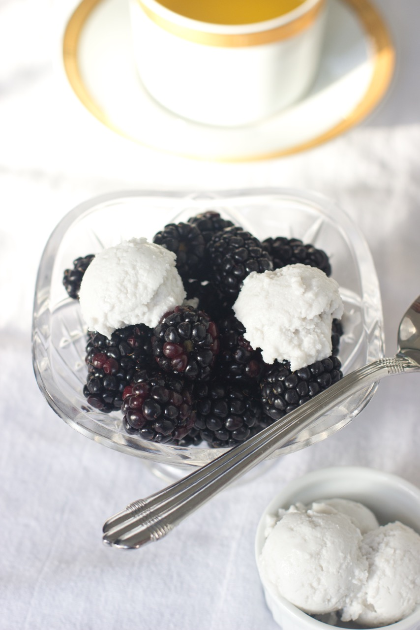 Blackberries and Coconut Whipped Cream