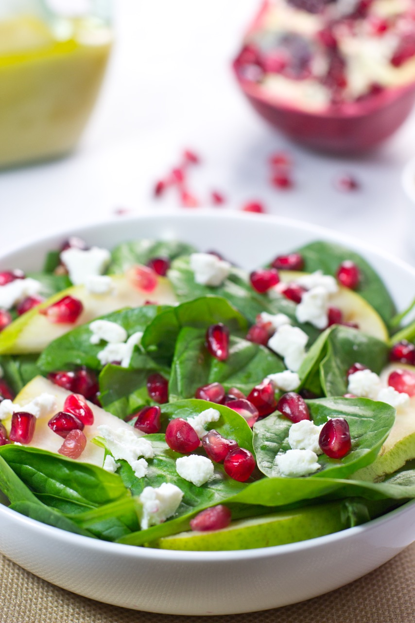 Pomegranate, Spinach Salad, gluten free, Apple Cider Vinaigrette, Paleo