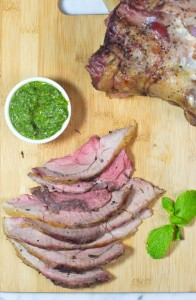 Roast Leg Of Lamb With Mint Pesto