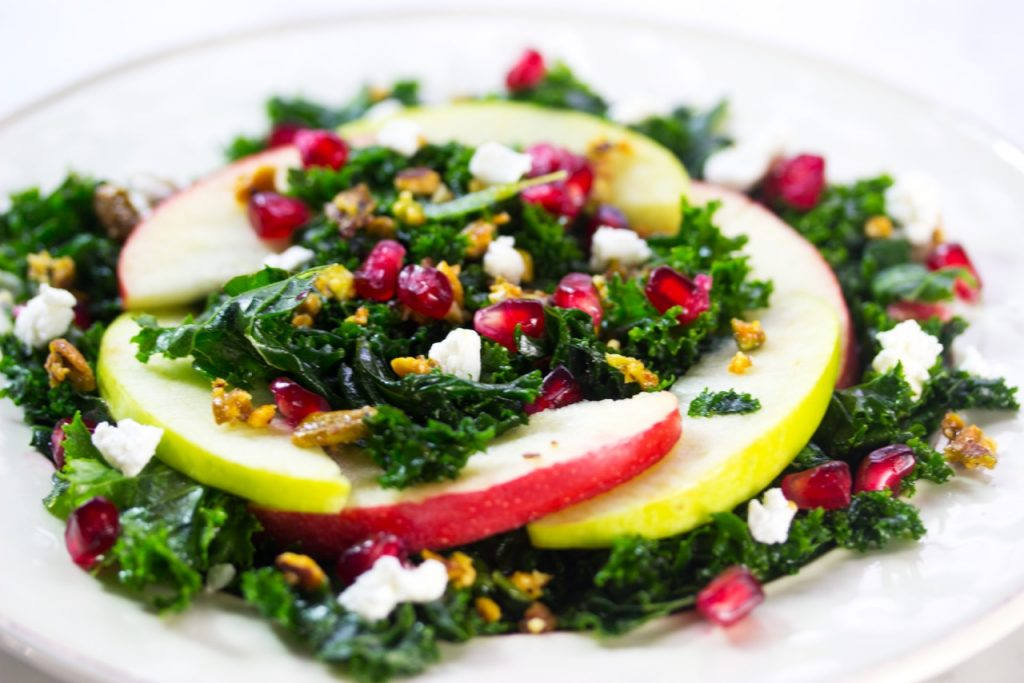 Autumn Kale Salad with Apples, Pomegranate, Pistachio and apples Recipe here.