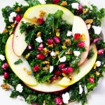 Autumn Kale Salad with Apples, Pomegranate, Pistachios, and Goat Cheese