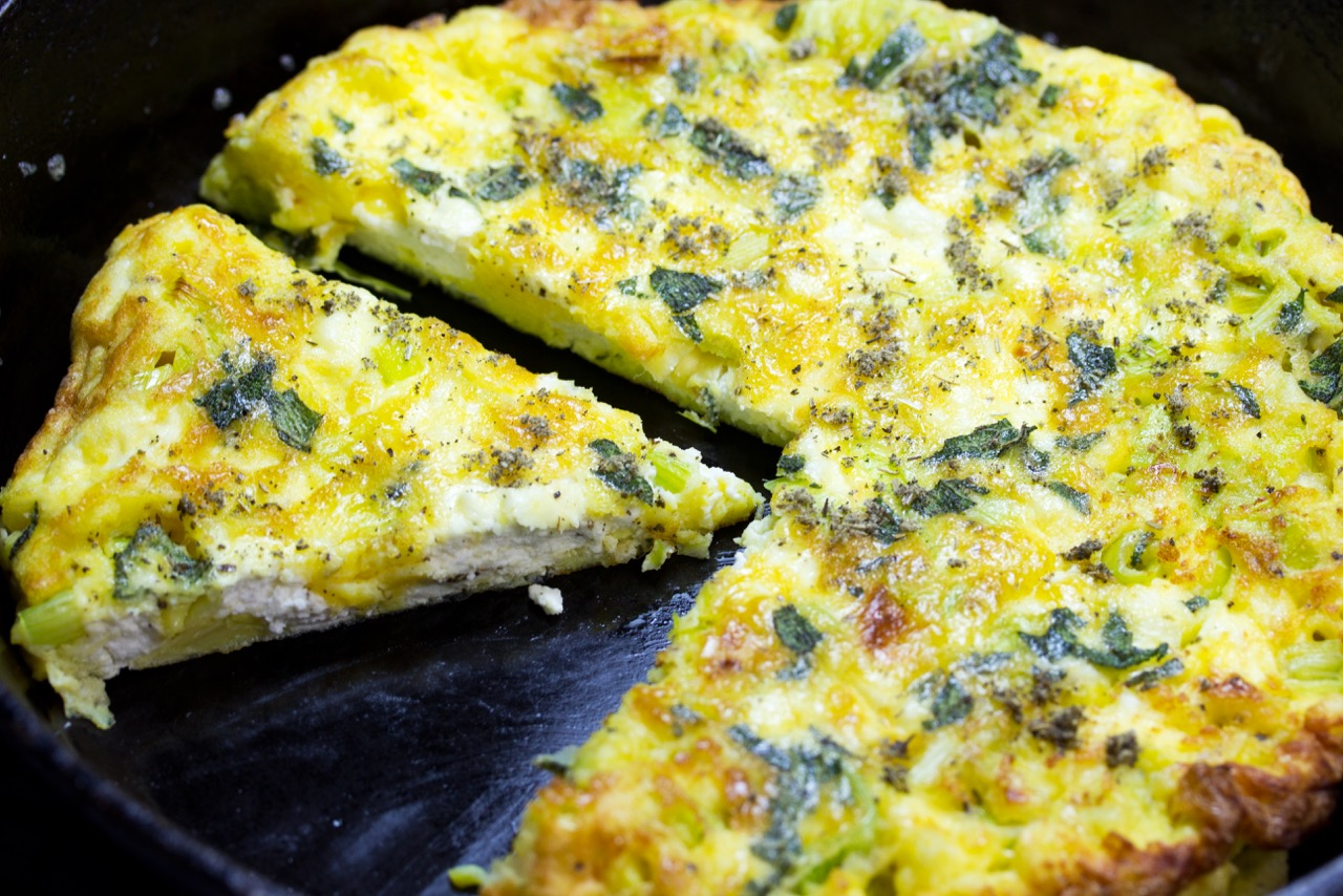 Frittata With Goat Cheese, Leeks, And Sage