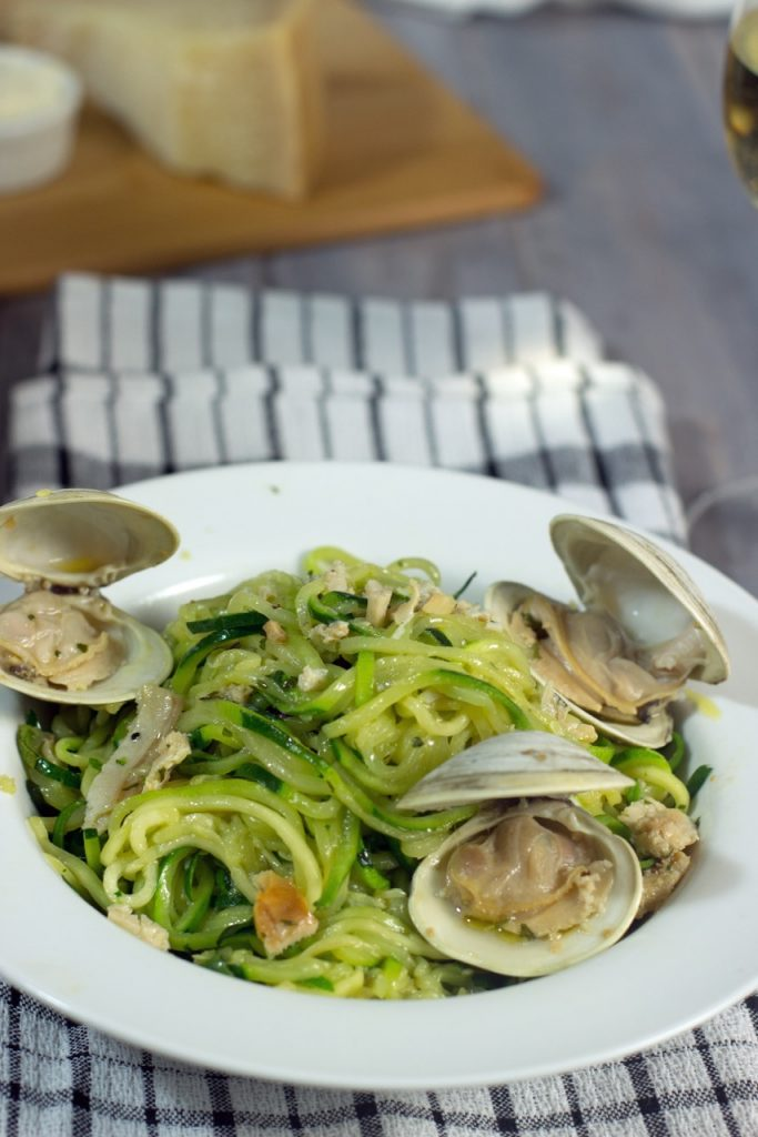 Zoodles (Zucchini Noodles) With Clam Sauce