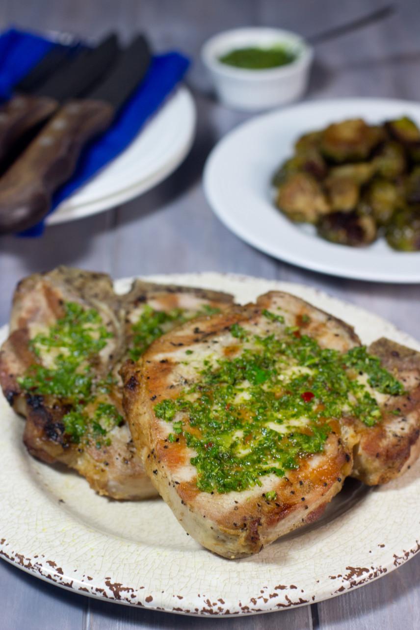 gluten free, brine, grilled, pork chop, chimichurri sauce , paleo,My Secret For Juicy Grilled Pork Chops (With Chimichurri Sauce)