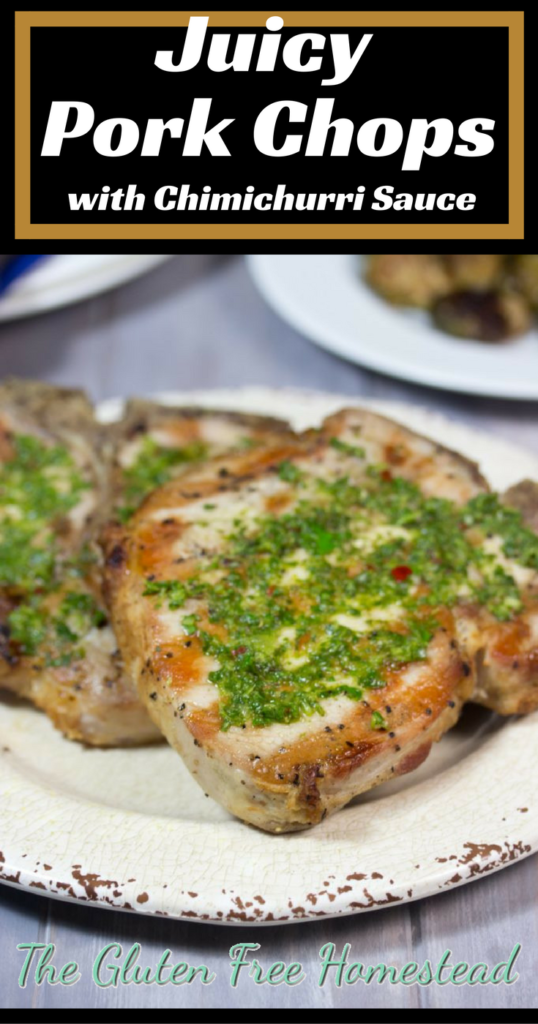 Click on the pin to learn my secret for juicy grilled pork chops   Bone In Pork Chops   How to brine   Low Carb   Whole 30   gluten free recipe   paleo recipe