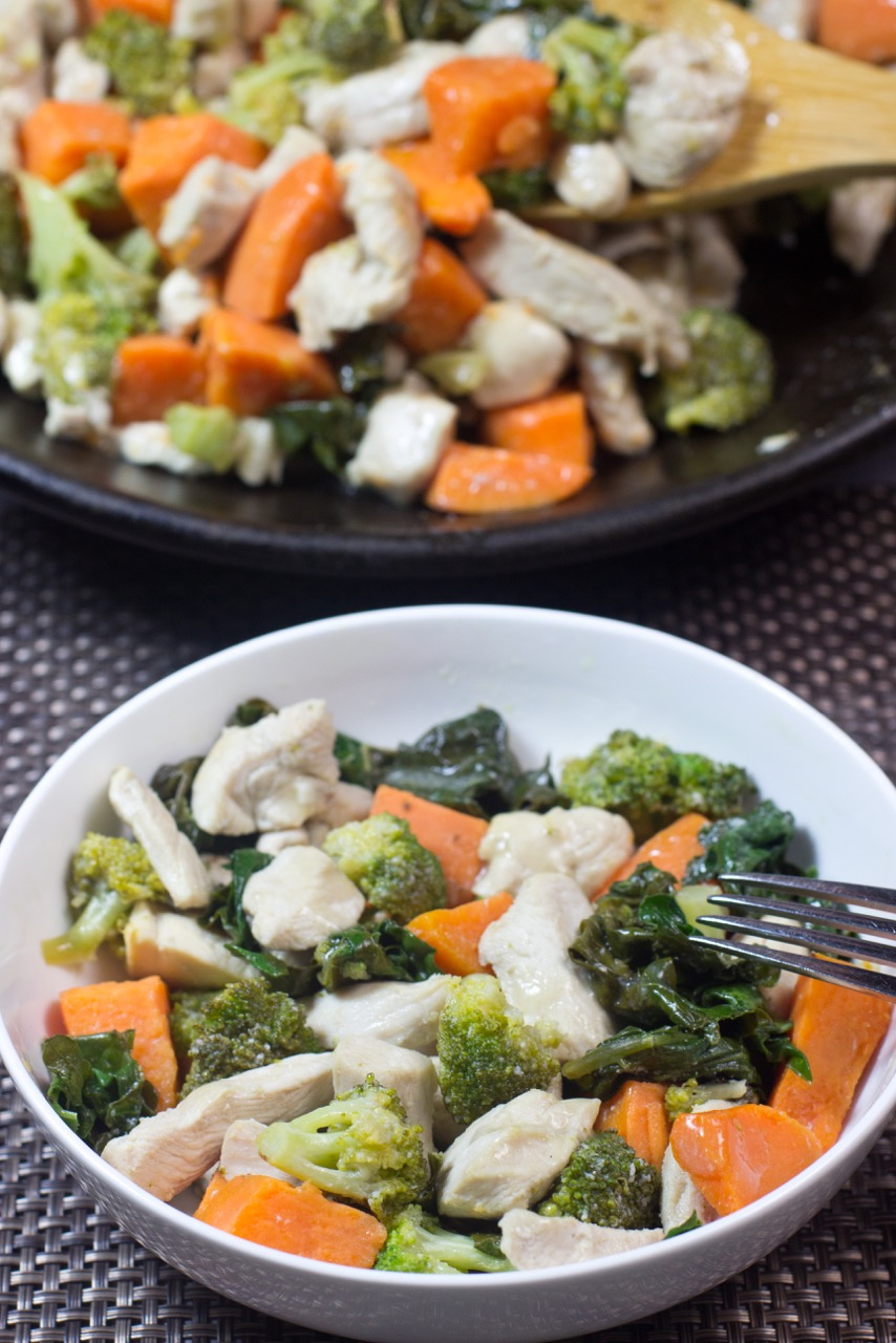 One-Pot, Paleo, Stir Fry, Chicken,gluten free, kale, sweet potatoes, broccoli