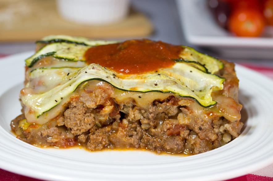 gluten free zucchini, sausage , grass fed beef, casserole