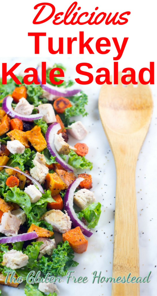 Refreshing turkey kale salad | simple vinaigrette with extra virgin olive oil (EVOO) & balsamic | vinegar | roasted sweet potatoes | gluten-free recipe | paleo recipe | low carb | whole 30 | A healthy way to continue feasting on the Thanksgiving leftovers