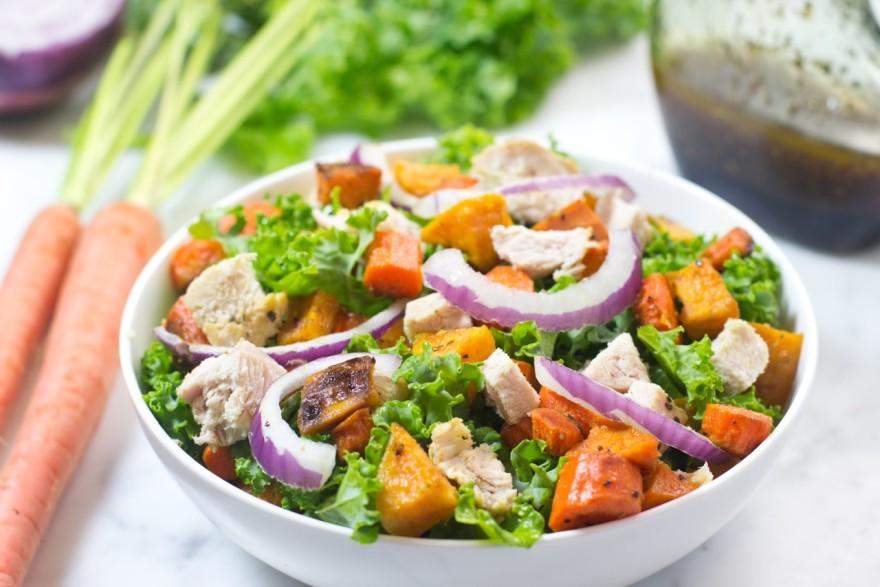 Thanksgiving, turkey leftovers, Roasted Sweet Potatoes, Carrots, Turkey, Kale, Salad, gluten free, paleo, olive oil, balsamic vinegar, Turkey Kale Salad with Roasted Sweet Potatoes and Carrots