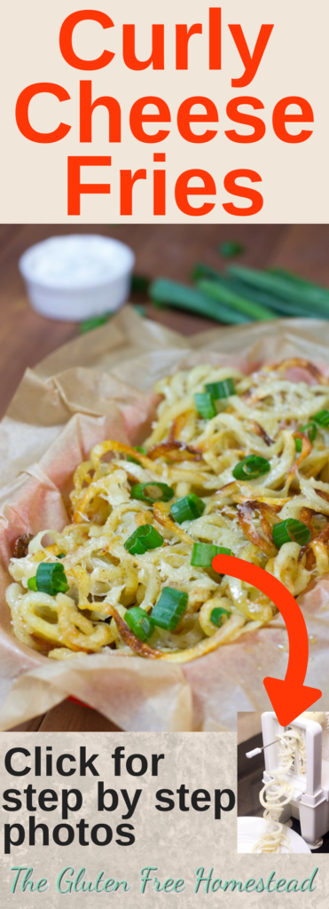 Click pin for step by step photos | Spiralizer Potatoes | Baked Cheese Fries | Super Bowl party recipe | Football party recipe | gluten free recipe