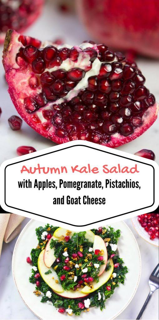 Low Carb recipe | Whole 30 recipe | paleo recipe | gluten free recipe | kale salad | pomegranates | goat cheese