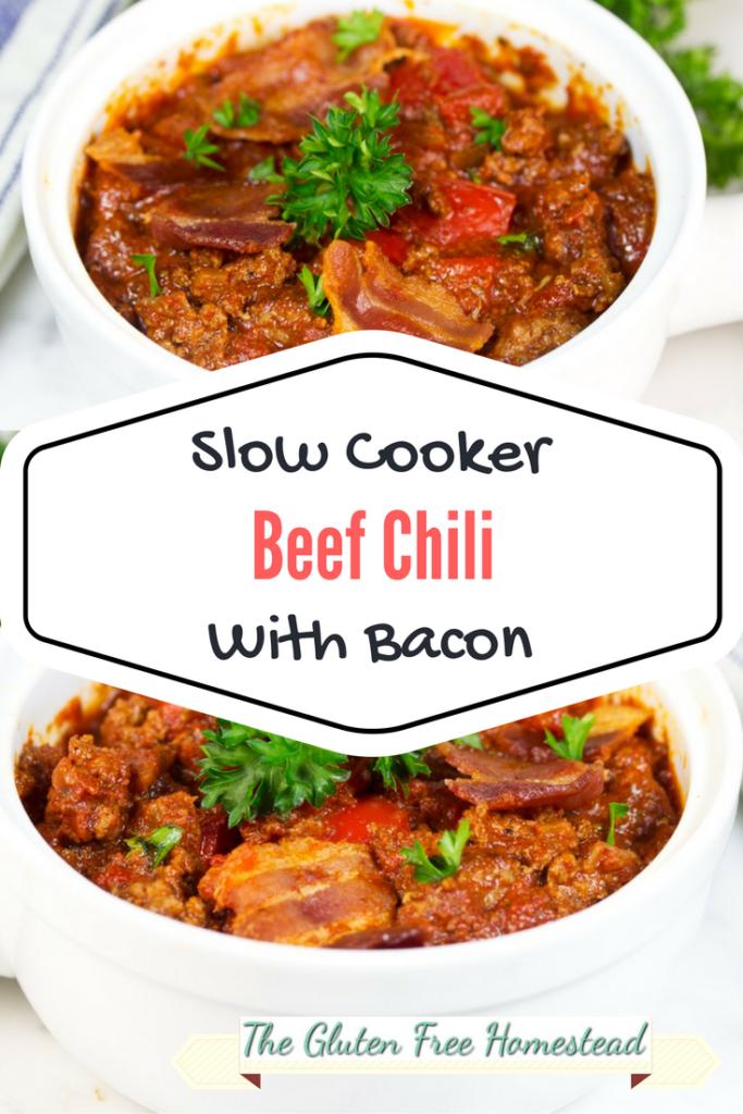 Slow cooker recipe | Chili recipe | Slow Cooker Chili recipe | low carb recipe | whole 30 recipe | gluten free recipe paleo recipe | chili with bacon |