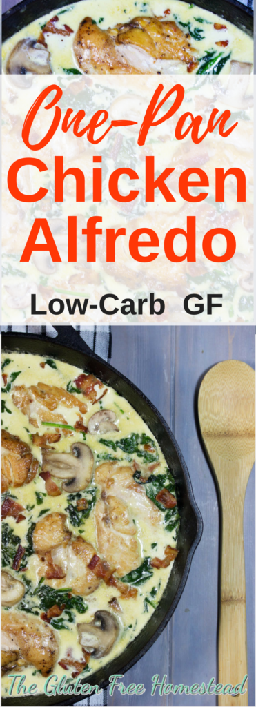 Easy and Quick one-pan meal! | Nutritious meal with healthy fats, protein, vitamins & minerals | The best one pot homemade chicken alfredo with spinach, mushrooms and bacon. | low-carb recipe | gluten -free recipe